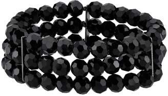 1928 Black Beaded Multi Strand Stretch Bracelet