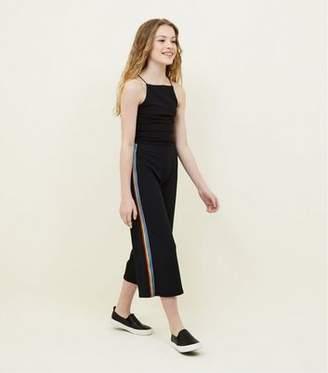 New Look Girls Black Rainbow Side Stripe Culottes