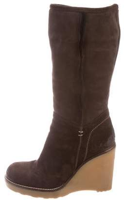 Alberto Fermani Suede Wedge Ankle Boots