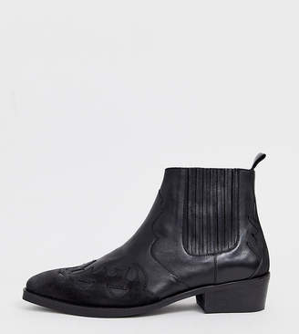 Asos Design DESIGN Wide Fit cuban heel western chelsea boots in black leather and suede