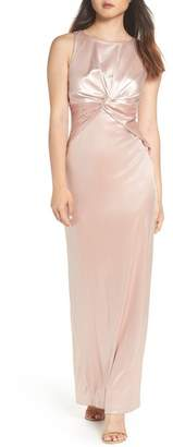 Adrianna Papell Twist Front Velvet Gown