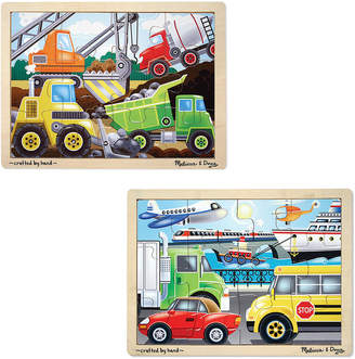 Melissa & Doug 12 Pc Vehicles And Construction Jigsaw Bundle