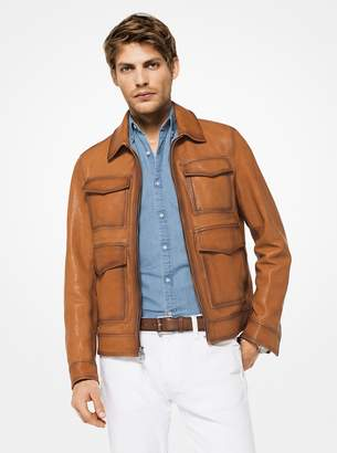 Michael Kors Leather Utility Jacket
