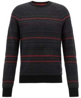 BOSS Hugo Crew-neck sweater in three-color cotton-blend jacquard XXL Black