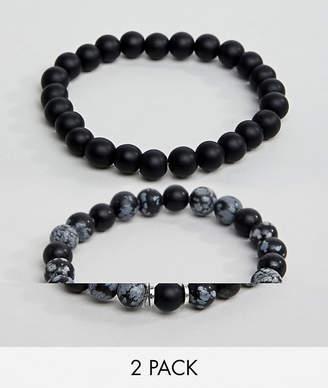 Asos DESIGN beaded bracelet pack in black with semi precious stones