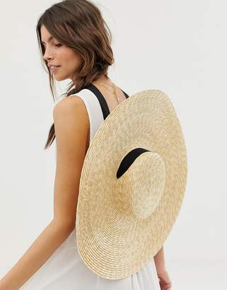 Asos Design DESIGN natural straw flat boater