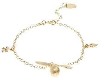 Alex Monroe Gold Baby Bumblebee Flower Charm Bracelet