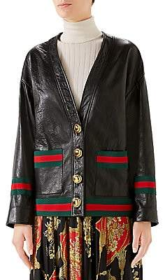 Gucci Women's Leather Web Cardigan Jacket