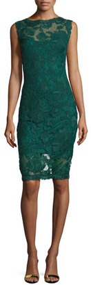 Tadashi Shoji Short-Sleeve Lace Cocktail Dress, Seagrass $368 thestylecure.com