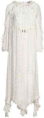 Zimmermann Broderie Anglaise-Trimmed Embroidered Silk-Georgette Midi Dress
