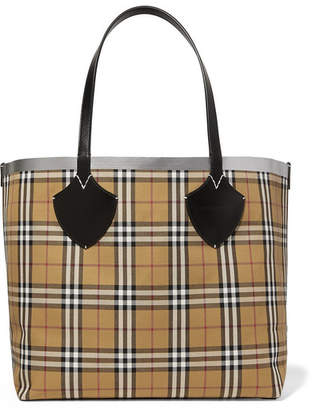 Burberry Leather-trimmed Checked Canvas Tote - Beige