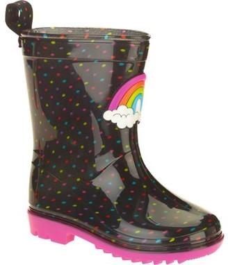 Generic Rainbow Dots Printed Toddler Girls' Jelly Rain Boots