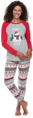 "Cuddl Duds Women's Jammies For Your Families Polar Bear Fairisle Family Pajamas ""Mama Bear"" Top & Bottoms Set"