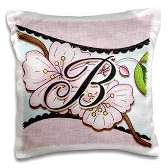 3dRose Cherry Blossom Flower Monogram Initial B - Pillow Case, 16 by 16-inch