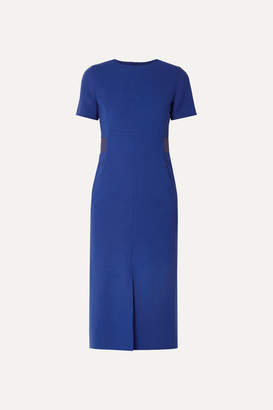Akris Horse Hair Blend-trimmed Wool-blend Crepe Midi Dress - Blue
