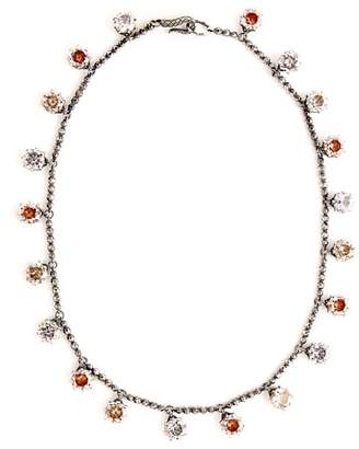 Bottega Veneta Cubic-zirconia oxidised sterling-silver necklace