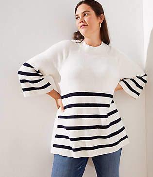 LOFT Plus Striped Mock Neck Side Button Sweater
