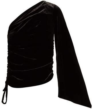Osman Nabela One Shoulder Velvet Top - Womens - Black