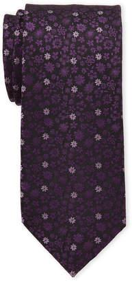 Isaac Mizrahi Eggplant Mini Floral Silk Tie
