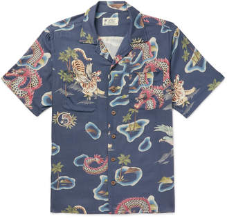 Ralph Lauren RRL Slim-Fit Camp-Collar Printed Woven Shirt - Men - Blue
