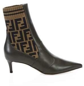 Fendi Kitten Heel Leather and Knit Booties