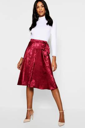 boohoo Tall Jacquard Satin Midi Skirt