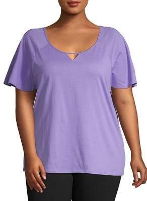 Karen Neuburger Plus Roundneck Keyhole T-Shirt