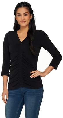 Susan Graver Liquid Knit 3/4 Sleeve V-Neck Top w/ Shirring
