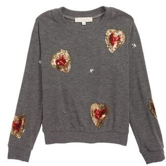 Truly Me Sequin Heart Sweatshirt