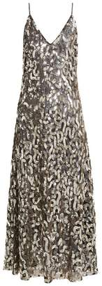 Givenchy Sequined V Neck Cotton And Tulle Gown - Womens - Black Gold