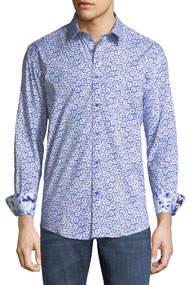 Classic-Fit Starburst-Print Sport Shirt Blue