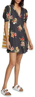 Free People Neon Garden Puff-Sleeve Mini Dress