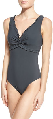 Karla Colletto Ruffle Twist Underwire One-Piece Swimsuit, Black $269 thestylecure.com