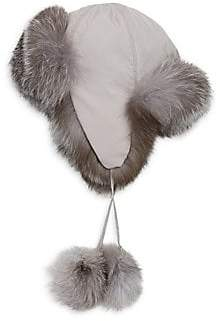 Saks Fifth Avenue Women's COLLECTION Fox Fur-Lined Pom Pom Trapper Hat
