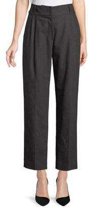 Emporio Armani High-Waist Tapered Wool-Cashmere Flannel Pleated Pants