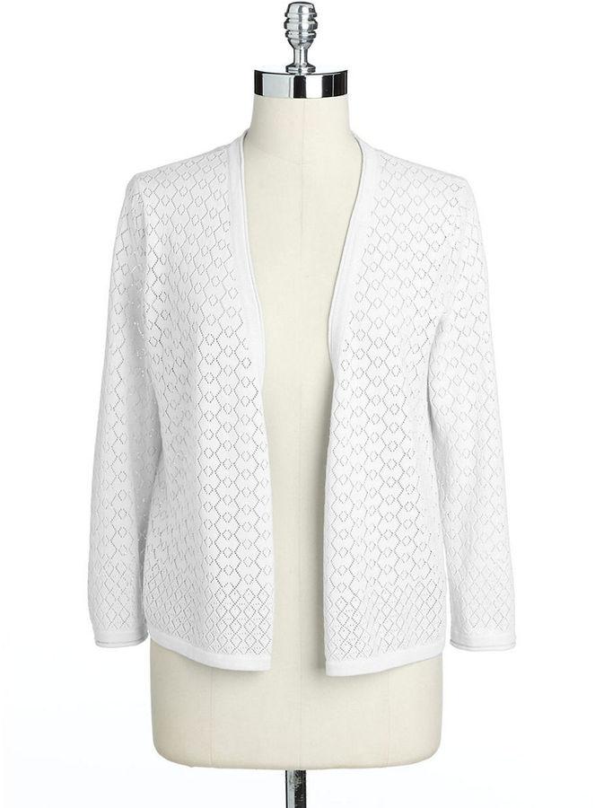 Jones New York Signature Petite Cotton Open-Front Cardigan