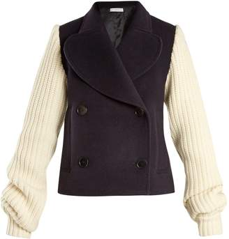 J.W.Anderson Double-breasted contrast-sleeve wool-blend coat