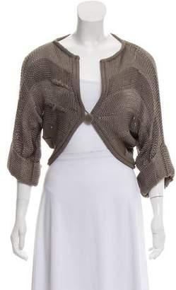 Fendi Open-Knit Cropped Cardigan