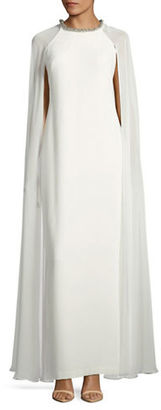 Calvin Klein Embellished Chiffon Cape Gown $269 thestylecure.com