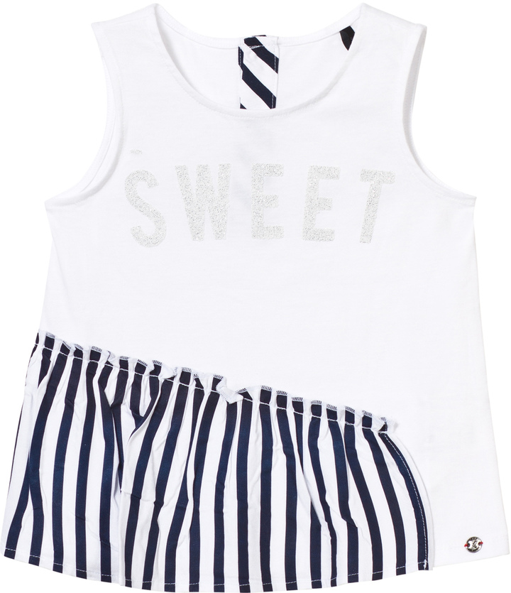 Ikks White and Navy Stripe Ruffle Top