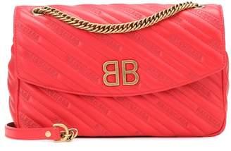 Balenciaga BB Round M leather shoulder bag
