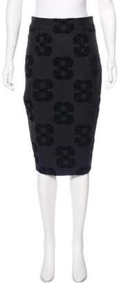 Thomas Wylde Velvet-Accented Pencil Skirt
