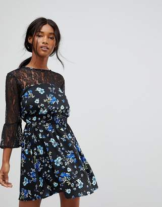 90573da97c Influence Lace Yoke And Sleeve Floral Skater Dress