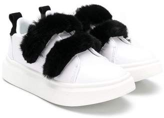 Colors of California Kids fluffy touch-strap sneakers