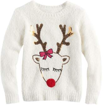 It's Our Time Its Our Time Girls 7-16 & Plus Size Sequin Reindeer Fuzzy Ugly Christmas Sweater