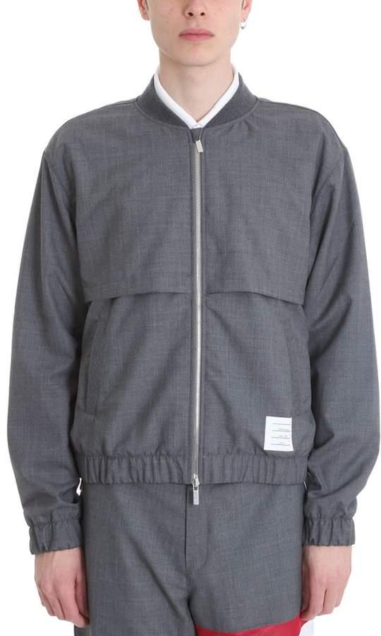 Grey Wool Bomber