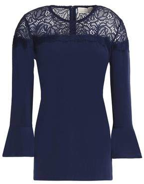 MICHAEL Michael Kors Lace-Paneled Fluted Jersey Top