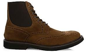 Eleventy Men's Perforated Suede Wingtip Boots
