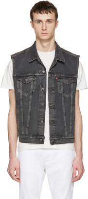 Levi's Grey Denim Trucker Vest $100 thestylecure.com