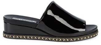 Karl Lagerfeld Paris Curbchain Trim Patent Wedge Sandals